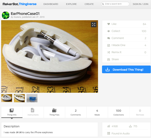 makerbot_thingiverse_earphones_page
